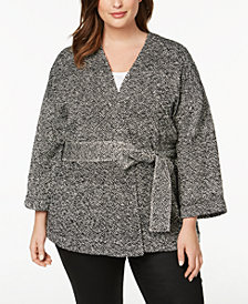 Eileen Fisher Plus Size Organic Cotton Belted Kimono Jacket