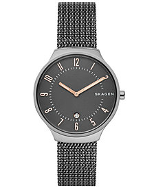 Skagen Men's Grenen Gunmetal Stainless Steel Mesh Bracelet Watch 38mm