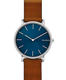 Skagen Hagen Slim Brown Leather Strap Watch 38mm