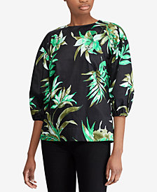 Lauren Ralph Lauren Petite Stretch Bishop-Sleeve Top