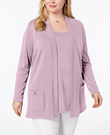 Anne Klein Plus Size 2-Pc. Sweater Set, Created for Macy's