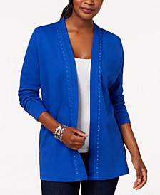 Karen Scott Petite Studded Cotton Cardigan, Created for Macy's