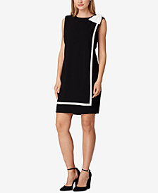 Tahari ASL Tipped Side-Bow Sheath Dress