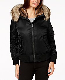 BCBGeneration Faux-Fur-Trim Bomber Jacket