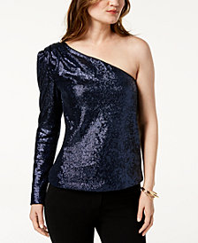 Rachel Zoe Ira Sequined One-Shoulder Top