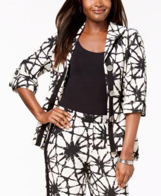 Printed 3/4-Sleeve Crinkle Jacket, Created for Macy's