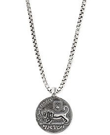 """DEGS & SAL Men's Lion Coin 24"""" Pendant Necklace in Sterling Silver"""