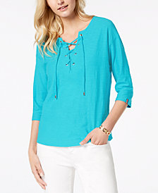 Tommy Hilfiger Cotton Lace-Up Top, Created for Macy's