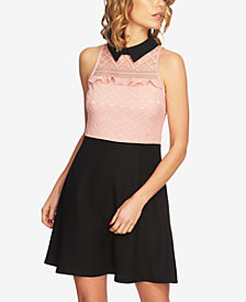 CeCe Collared Lace Fit & Flare Dress