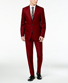 Calvin Klein Men's Slim-Fit Burgundy Suit