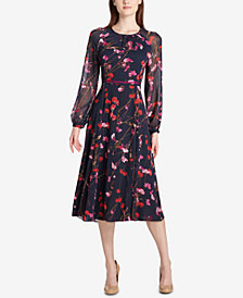 tommy hilfiger photo blossom chiffon midi dress