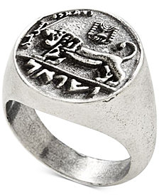 DEGS & SAL Men's Ancient-Look Israeli Lion Coin Ring in Sterling Silver