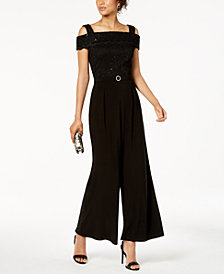 R & M Richards Sequined Lace Off-The-Shoulder Jumpsuit