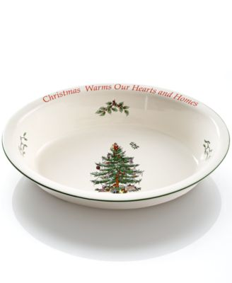 Christmas Tree Sentiment Oval Rim Dish, Created for Macy's
