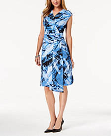 NY Collection Petite Surplice Faux-Wrap Dress