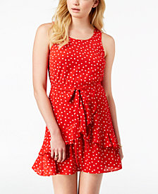 Speechless Juniors' Polka Dot Ruffled Dress, Created for Macy's