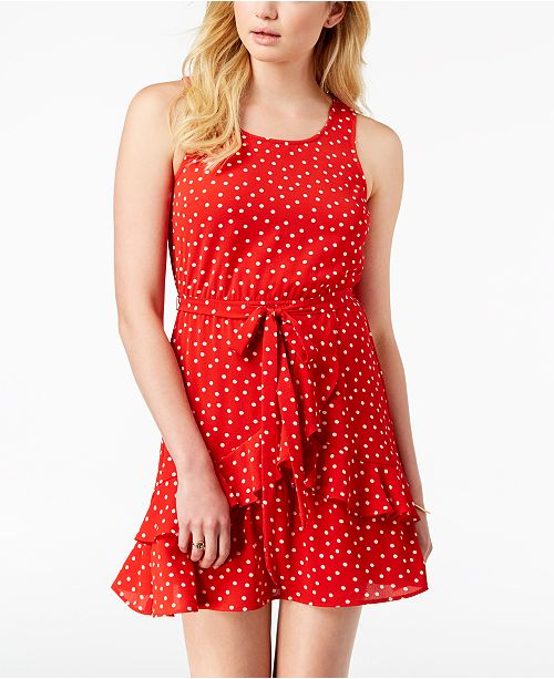 Dress Red Juniors' Speechless Polka Macy's Ruffled Dark for Created Dot AIAz4qw
