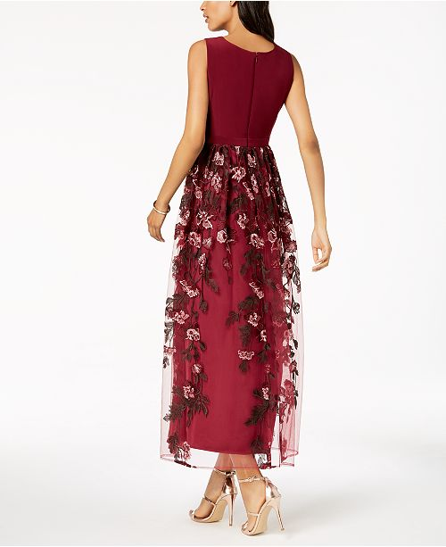 Nightway Petite Illusion Floral Embroidered Gown Dresses Petites