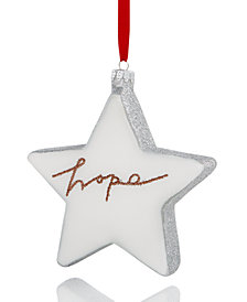 Holiday Lane Glass Star with Glittered ''Hope'' Ornament, Created for Macy's