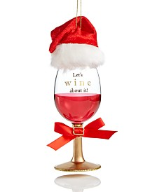 Holiday Lane Spirits Red Wine Glass with santa Hat Ornament Created For Macy's
