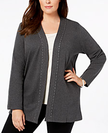 Karen Scott Plus Size Cotton Rhinestone-Trim Cardigan, Created for Macy's