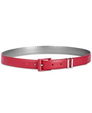 Double-Keeper Leather Belt, Created For Macy'S in Red/Silver