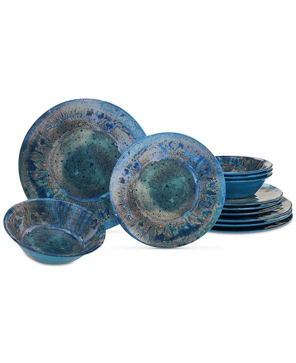 Certified International Radiance Teal Melamine 12-Pc. Dinnerware Set
