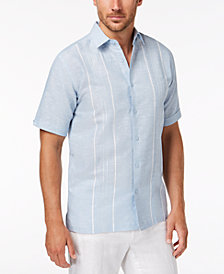 Cubavera Men's Linen Cotton Double Panel Short-Sleeve Shirt