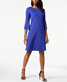 Kasper Ribbed-Knit Flounce-Sleeve Dress
