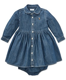 Polo Ralph Lauren Baby Girls Denim Cotton Shirtdress