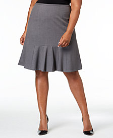 Nine West Plus Size Stretch Flare-Hem Skirt