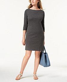 Karen Scott Petite Cotton Boat-Neck Dress, Created for Macy's