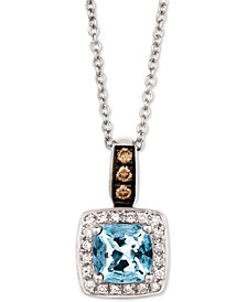 "Sea Blue Aquamarine® (3/4 ct. t.w.) & Diamond (1/8 ct. t.w.) 18"" Pendant Necklace in 14k White Gold"