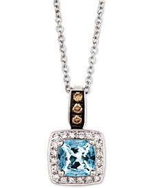 "Le Vian® Sea Blue Aquamarine® (3/4 ct. t.w.) & Diamond (1/8 ct. t.w.) 18"" Pendant Necklace in 14k White Gold"