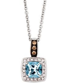 """Le Vian® Sea Blue Aquamarine® (3/4 ct. t.w.) & Diamond (1/8 ct. t.w.) 18"""" Pendant Necklace in 14k White Gold"""