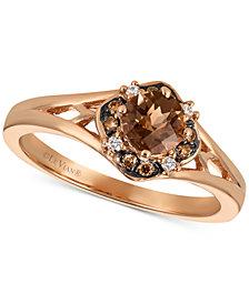 Le Vian® Chocolate Quartz® (1/3 ct. t.w.) & Diamond Accent Ring in 14k Rose Gold