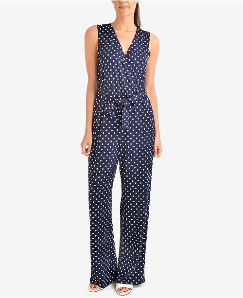 7f280a6b1a1 NY Collection Printed Tie-Waist Jumpsuit   Reviews - Pants   Capris ...