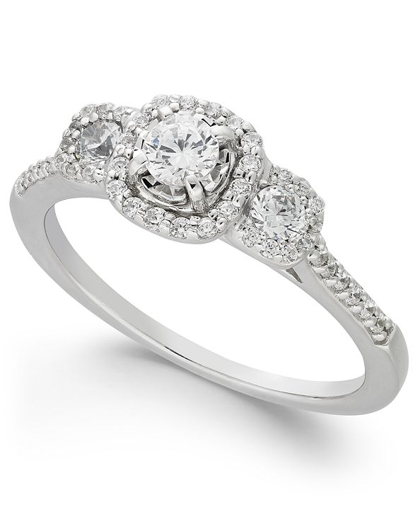Macy's Diamond Triple Halo Engagement Ring (1/2 ct. t.w.) in 14k White Gold