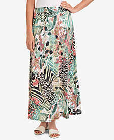 NY Collection Pull-On Printed Maxi Skirt
