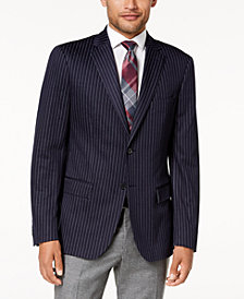 Ryan Seacrest Distinction™ Men's Modern-Fit Stretch Navy Pinstripe Knit Sport Coat, Created for Macy's