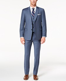 Tommy Hilfiger Men's Modern-Fit TH Flex Stretch Blue/Gray Twill Vested Suit Separates