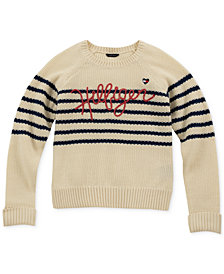 Tommy Hilfiger Big Girls Striped Logo Sweater