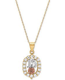 "Cubic Zirconia Quinceañera Rose 16"" Pendant Necklace in 14k Gold, Rose Gold & Rhodium-Plate"
