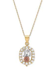 "Cubic Zirconia Quinceañera Rose 16"" Pendant Necklace in 14k Gold, Rose Gold & Rhodium-Plate"