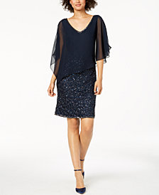 J Kara Embellished Capelet Dress