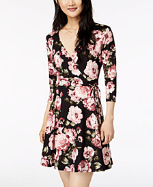 BCX Juniors' Floral-Print Wrap Dress