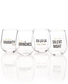 The Cellar Holiday Stemless Wine Glasses, Set of 4, Created for Macy's