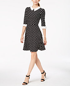 Monteau Petite Lace-Collar Fit & Flare Dress