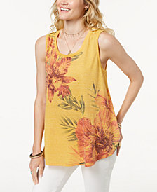 Style & Co Petite Floral-Print Swing Tank, Created for Macy's