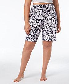 HUE® Plus Size House-Print Bermuda Pajama Shorts